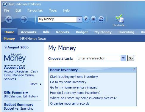 Important records organizer on Money home page