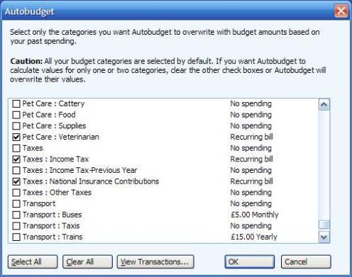 The AutoBudget in Microsoft (MS) Money - example view