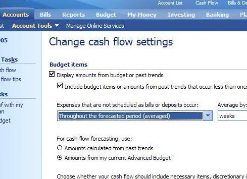 custom options on forecasting cash flow - changing from trended to budget items