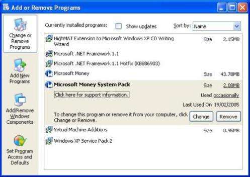 Illustration of Microsoft Money system pack in add and remove programs
