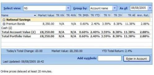 Premium Bond tracking through the Microsoft Money portfolio
