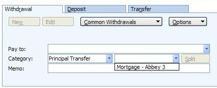 Principal Transfer category in Microsoft Money