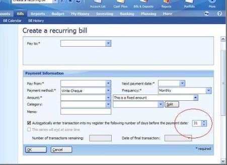 view of recurring bill or deposit days in advance entry