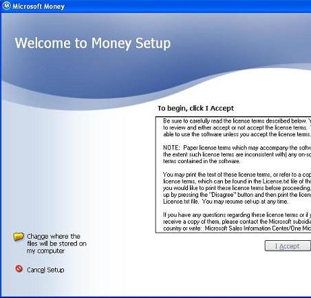 MSMoney startup screen showing the customize option to allow you to change the installation location