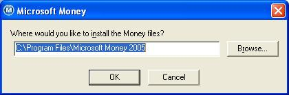 MSMoney dialog box to change default installation location