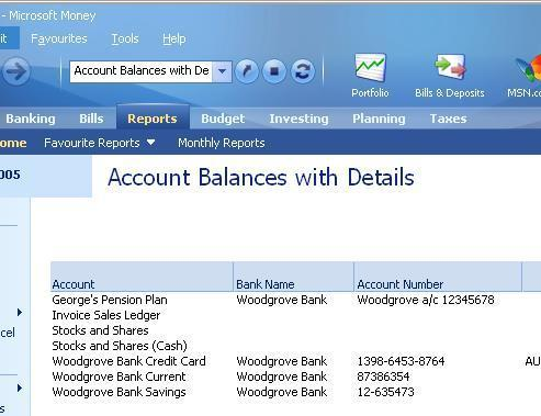 View of same information in account balances with details report
