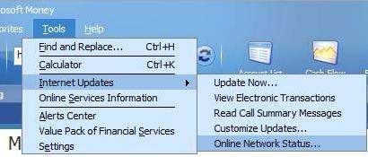 Link to Online Network Status for MSN money Moneycentral in Money Plus Internet Updates menu item