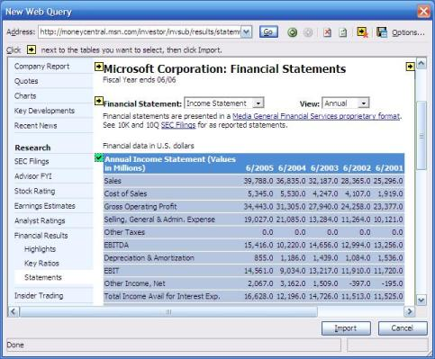 web query in microsoft excel showing import of external data