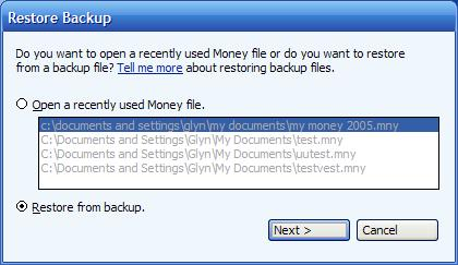 Selecting a MSMoney file or choosing a backup file on the restore backup menu