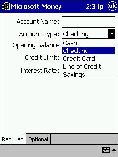 Create account screen for Microsoft Money for the Pocket PC