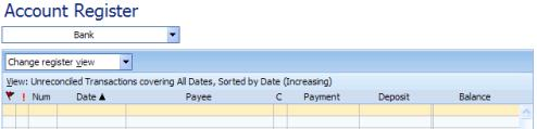 Account Register Column Names in Microsoft Money
