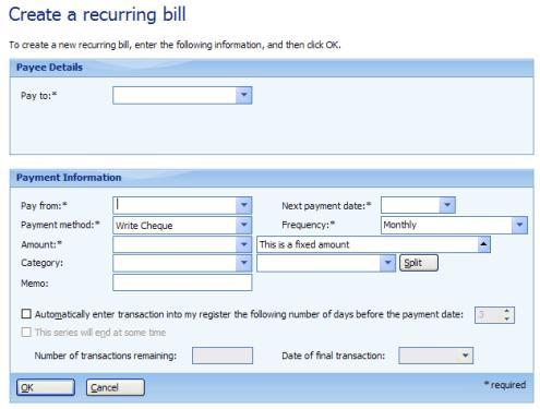 Creating a recurring bill in Microsoft Money