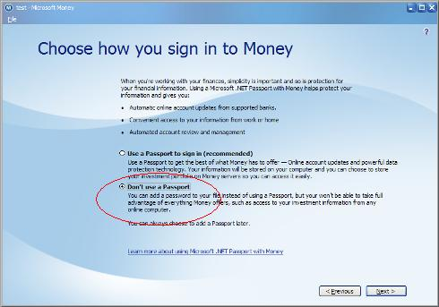 Setup window for Microsoft Money showing choice of not having a Passport