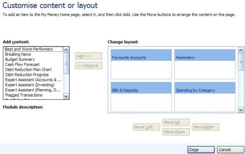 Screenshot of Customize Content or Layout page in Microsoft Money