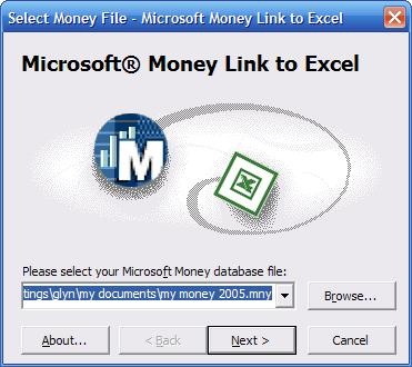 Ultrasoft MoneyLink Microsoft Excel Add in window showing how to select Money file