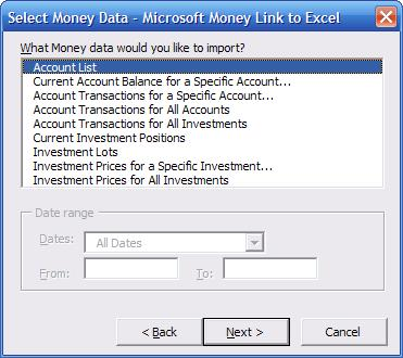 Ultrasoft Moneylink Microsoft Excel Add in image showing available import options