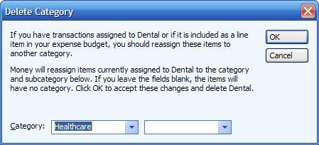 Deleting a category or subcategory in MS Money - resulting dialog box