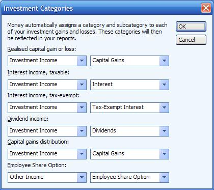 Default investment categories in Microsoft Money