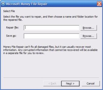 Selecting files for the Microsoft Money file repair tool