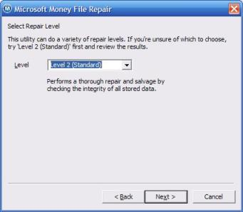 Choosing the repair level in the Microsoft Money repair tool