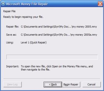 Confirmation window for Microsoft Money repair tool