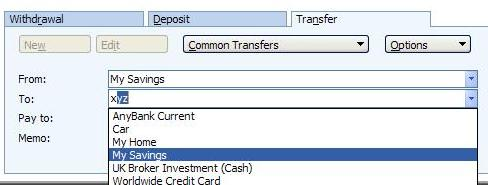 using abbreviations in Microsoft (MS) Money -     account abbreviation