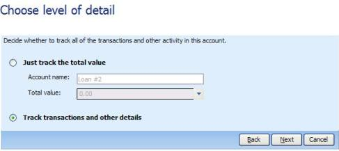 Choose to track transactions and other details, otherwise you'll get a liability account