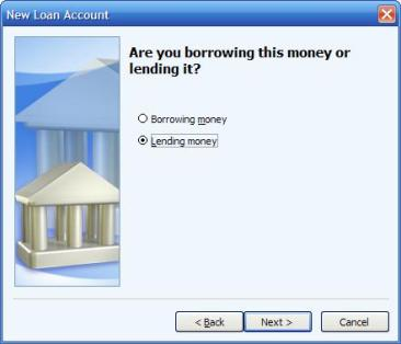 Are you borrowing this money or lending it? option in Microsoft Money