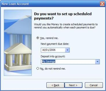 Choosing an account to deposit the interest into, nearing completion of the loan account wizard