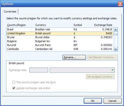 Currencies page showing BASE currency in Microsoft Money