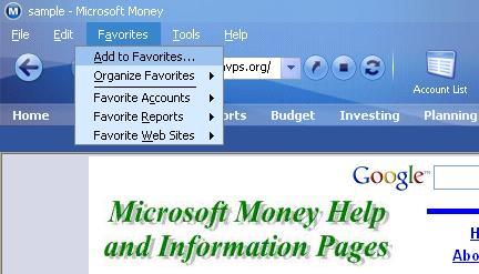 Adding a favourite website to Microsoft (MS) Money