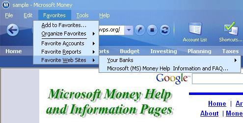 Favorite website added to Microsoft Money favorites