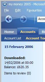 Last downloaded date in the account register