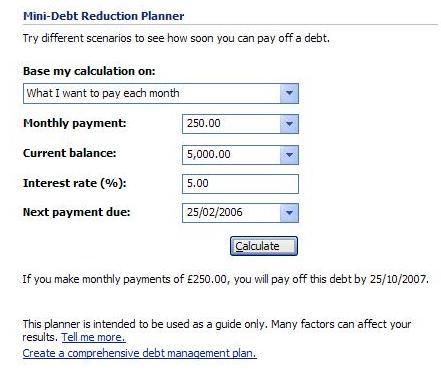 Mini debt reduction planner in Microsoft Money