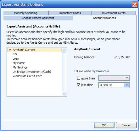 Setting upper and lower account balance warning limits in Expert Assistant or Advisor FYI in Microsoft Money