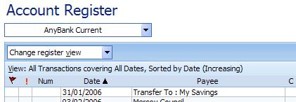 Sort view in the account register in Microsoft (MS) Money
