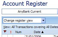 Black triangle denoting the sorted column in the Microsoft Money account register