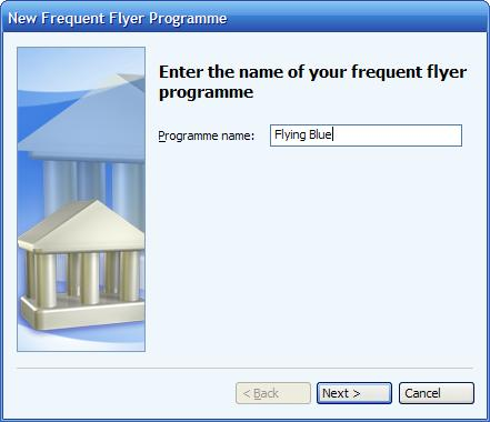 Entering the name of the frequent flyer program in Microsoft      (MS) Money