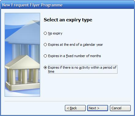 Selecting the expiry type of a frequent flyer program