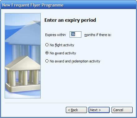 Entering a frequent flyer expiry period when an inactivity      option is selected