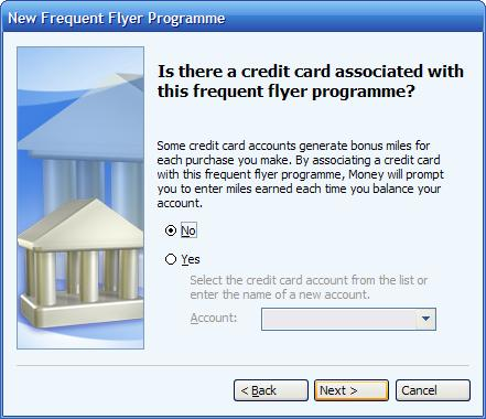 Associating a credit card with a frequent flyer program in MS Money