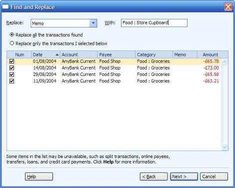 Specifying the transactions for replacement and the replacement values