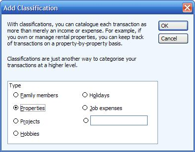 Choosing a predefined or user classification in Microsoft (MS) Money