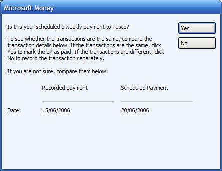 Pop up window shown when Microsoft Money finds a potential match with a manually entered transaction and a scheduled bill or deposit
