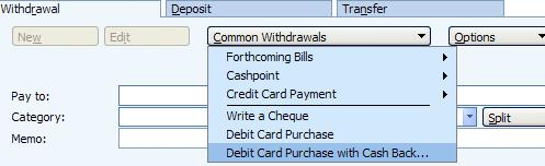 Option in Microsoft Money UK to use a debit card to pay for an item with cash back