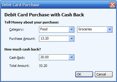 Entering the split details for a cashback transaction in Microsoft Money