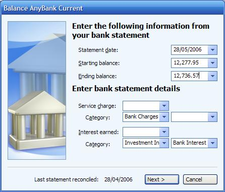 Entering information from your bank statement to balance an account in Microsoft (MS) Money