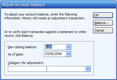 Adjust account balance for a cash account