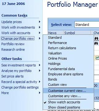 Customizing the portfolio manager in Microsoft Money