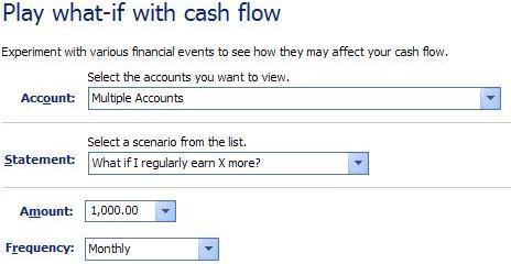 Selection box of forecast cash flow scenarios